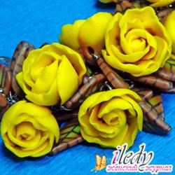 браслет желтые цветы из полимерной глины своими руками, фото