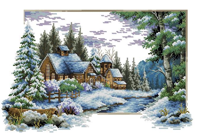 """Схема для вышивки крестом  """"Зима """".  Размер: 39 x 25 см. Канва: Aida 14, White Кол-во цветов: 43 Скачать схему xsd."""