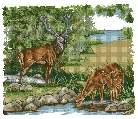 Дата.  4689. Вышивка крестом животных - горные олени.  Схема вышивки.  Добавил.  Hel.