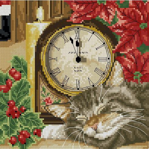 19.11.2011. Категория.  Животные.  Просмотров: 160 Дата.  Вышивка крестиком - Кот с часами.