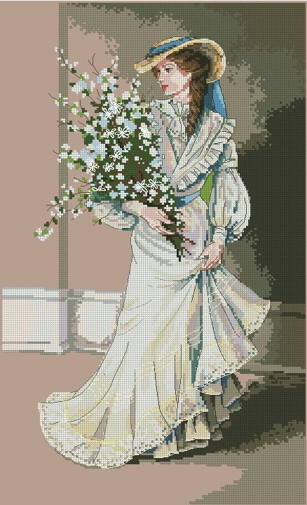 схему вышивки крестом дева